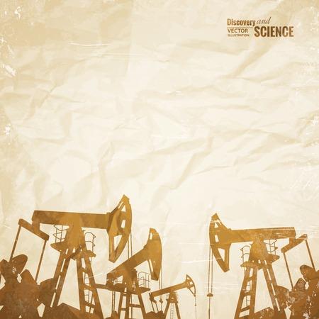 industry background: Aceite de fondo de la industria con aceite de bombas sobre el papel viejo. Ilustraci�n del vector.
