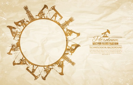 gas refinery: Oil industrial circle border on old paper background. Vector illustration.