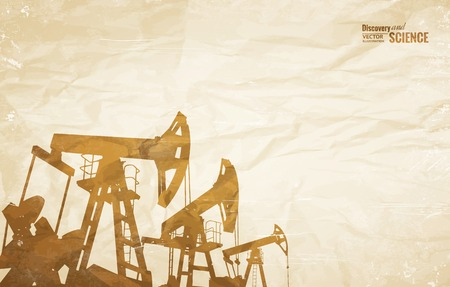 oil well: Oil industry background with oil pumps over old paper. Vector illustration. Illustration