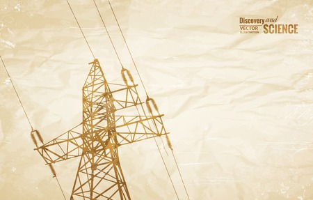 transmission line: Electrical Transmission Line of High Voltage on old paper. Vector Illustration.