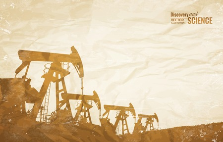 derrick: Oil industry background with oil pumps over old paper. Vector illustration. Illustration