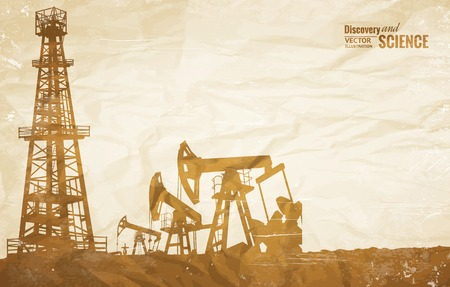 Oil plant design on the ond paper texture. Vector illustration. Stok Fotoğraf - 32986182