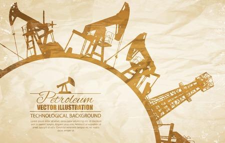 crumpled paper ball: Oil pump circle frame. Vector illustration.