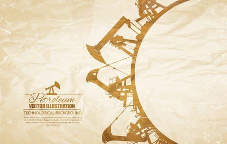 oil pump: Oil pump circle frame. Vector illustration.
