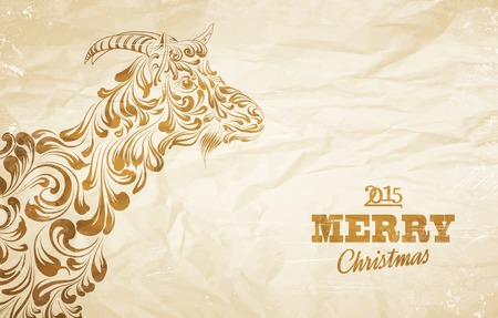The goat - a new year symbol of 2015. Vector illustration. Vector
