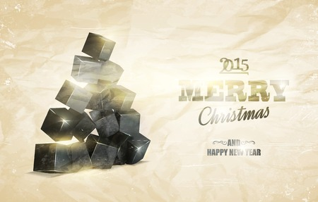 granules: Christmas card with box pyramid over old paper background. Vector illustration.