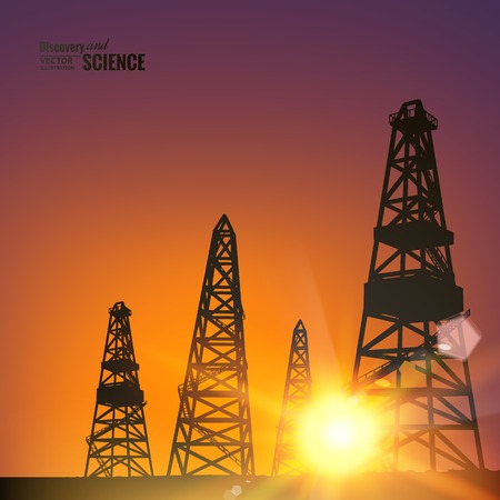 derrick: Oil derricks over sunset background. Vector illustration.