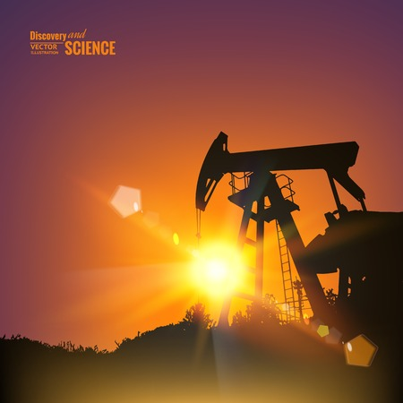 Oil pumps over sunset. Vector illustration. Vector
