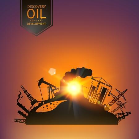 oil field: Oil industry illustration in sunset rays. Vector illustration.