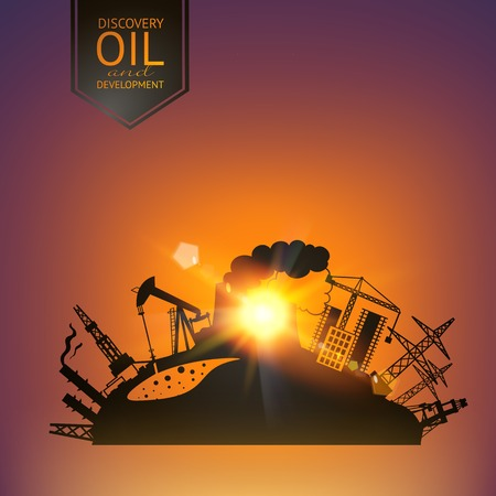 Oil industry illustration in sunset rays. Vector illustration.