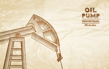 oil and gas industry: Oil pump engraving over old paper texture. Vector illustration.