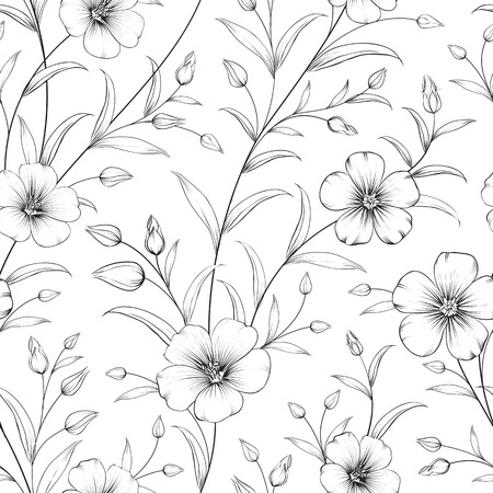 tendril: Linum seamless pattern for fabric swatches. Vector illustration.