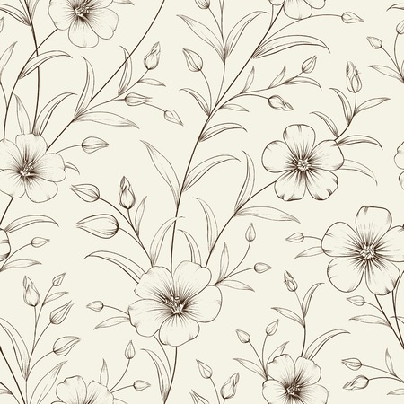 flax: Linum seamless pattern for fabric swatches. Vector illustration.