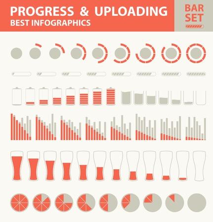 Progress and uploading bar set.  Vector