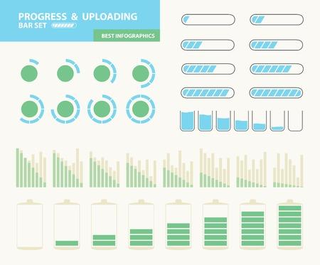 Progress and uploading bar set. Illustration