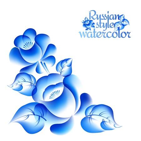 blue roses: Gzhel style floral frame. Vector illustration. Illustration