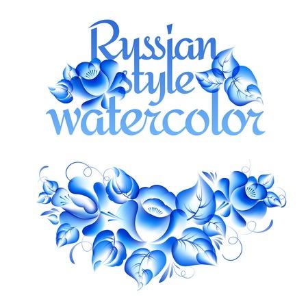 gzhel: Gzhel style floral frame. Vector illustration. Illustration