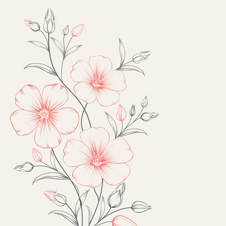 Flax flower for greeting card. Vector illustration.