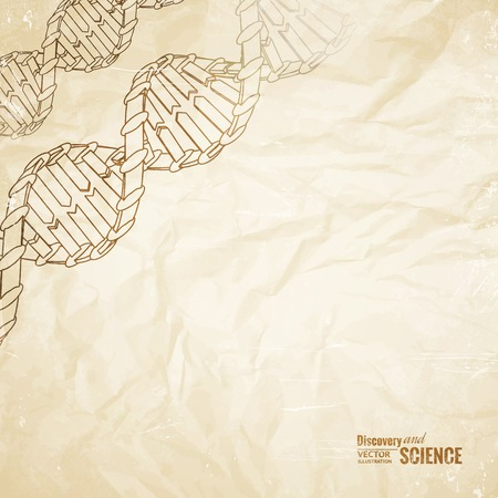 Old paper with dna pencil image on the corner. Vector illustration. Vector