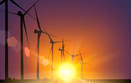 generadores: Molino de viento generadores el�ctricos m�s de la puesta del sol. Ilustraci�n del vector. Vectores