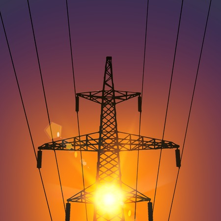 power distribution: Electrical Transmission Line of High Voltage With Bright Spark. Vector Illustration.