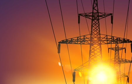 transmission line: Electrical Transmission Line of High Voltage Over Sunrise. Vector Illustration.