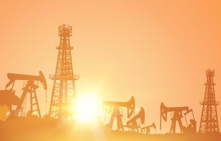 oil derrick: Oil derrick industrial machine for drilling at the sand storm. Vector illustration. Illustration