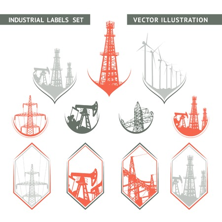 oilwell: Industrial Lable Set of flat lables. Vector illustration. Illustration