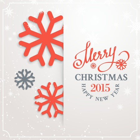 Christmas card with snow flakes over white background. Vector illustration. Vector