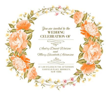 botanic: Luxurious vintage frame of color peony label. Vector illustration. Illustration
