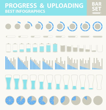 Pregress and uploading bar set. Vector illustration. Vector