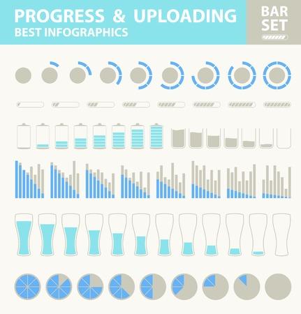uploading: Pregress e bar caricamento set. Illustrazione vettoriale.