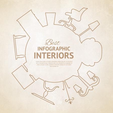 インテリア デザインの要素に、フラット スタイル カード。ベクトルの図。  イラスト・ベクター素材