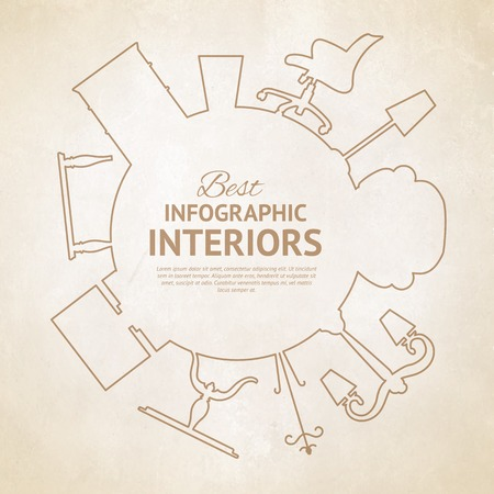 muebles de oficina: Tarjeta de estilo plano con elementos de diseño de interiores. Ilustración del vector. Vectores