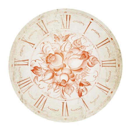 Vintage flower clock illustration isolated in circle. illustration