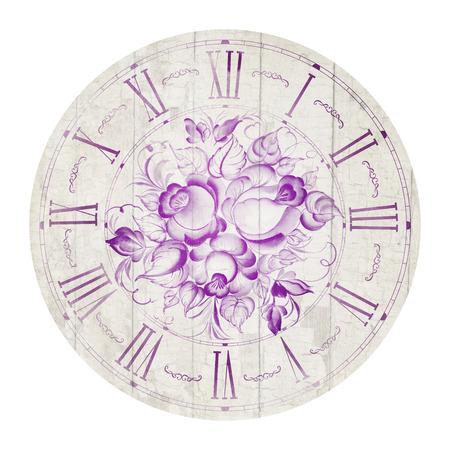caras pintadas: Ilustración reloj de flores de la vendimia aislado en el círculo.