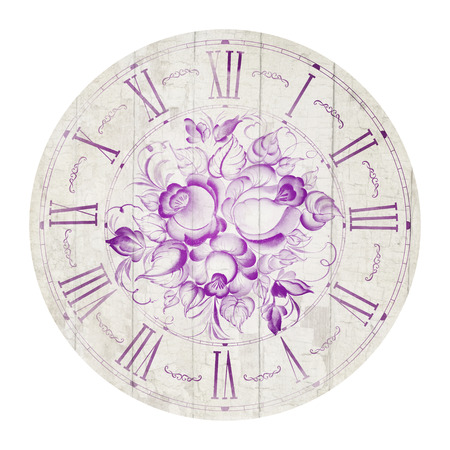 Vintage flower clock illustration isolated in circle.