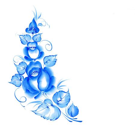 gzhel: Gzhel style blue floral frame. illustration. Stock Photo