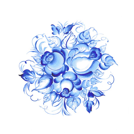 Gzhel style blue floral frame. illustration. Stock Photo
