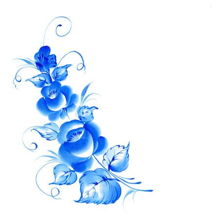 blue roses: Gzhel style blue floral frame. illustration. Stock Photo