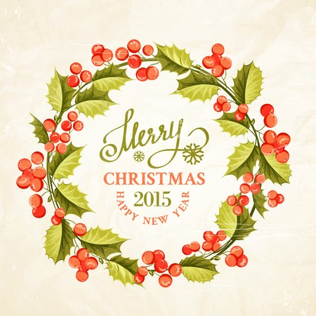 Christmas mistletoe wreath drawing with holiday text. Vector illustration. Vector