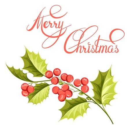 christmas tree branch: Christmas mistletoe branch drawing with holiday text. Vector illustration.