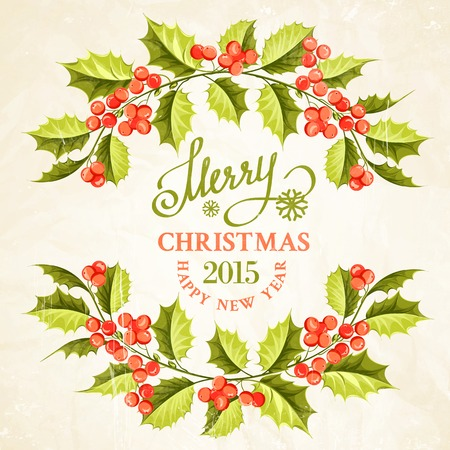 Christmas mistletoe branch frame drawing with holiday text. Vector illustration. Vector