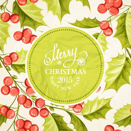 Christmas mistletoe drawing over card with holiday text and border. Vector illustration. Vector