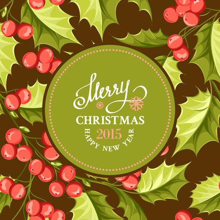 Christmas mistletoe card with holiday text and border. Vector illustration. Vector