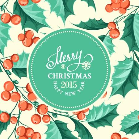 Christmas mistletoe holiday card with text. Vector illustration. Vector