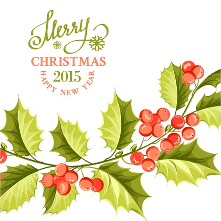 Christmas mistletoe brunch over card with holiday text. Vector illustration. Vector
