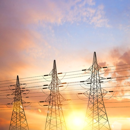 Electrical pylons over sunset background. Vector illustration. Vector