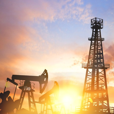 oilwell: Oil pumps and derricks over sunset background. Vector illustration.