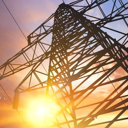 electricity pylon: Electrical pylon over sunset background. Vector illustration.